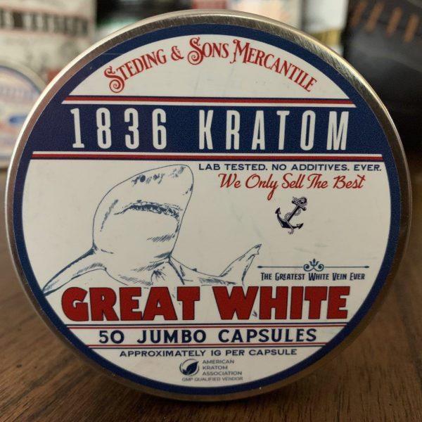 1836 White Kratom Capsules, 1836 Kratom Great White 50 Caps, Brands, 1836 Kratom, Whole Earth Gifts