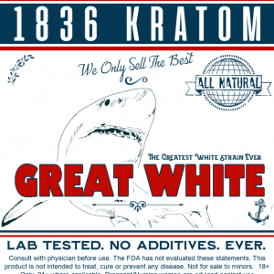1836 Kratom Great White Powder Label