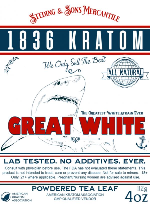1836 Kratom Great White Powder Label