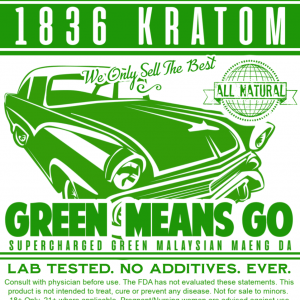 1836 Kratom Green Means Go Powder Label