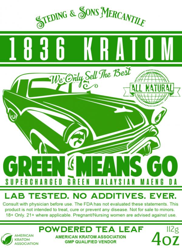 1836 Kratom Green Means Go Powder Label