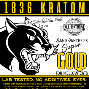 1836 Kratom Sand Panther's Super Gold Powder Label