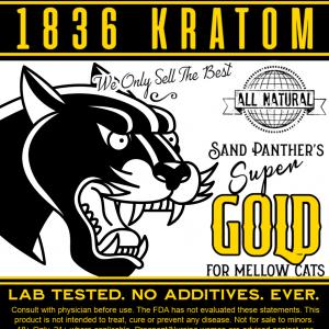 1836 Kratom Sand Panther's Super Gold Powder Label