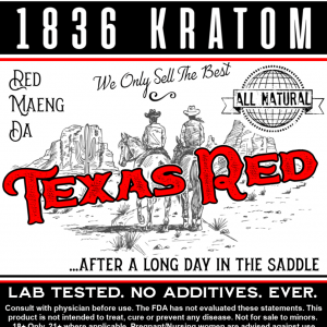 1836 Kratom Texas Red Powder Label