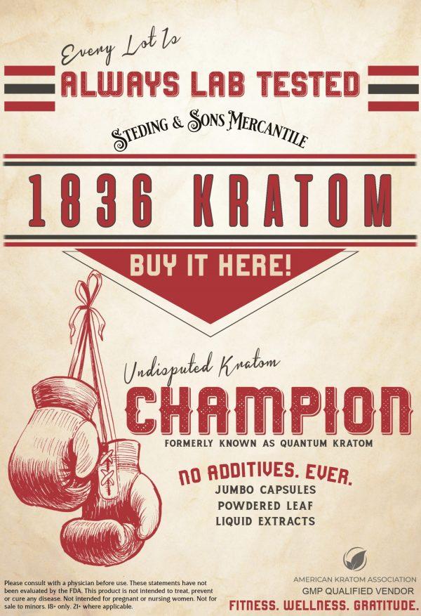 Indonesian Sunrise Capsules, 1836 Kratom - Vintage Boxing Poster