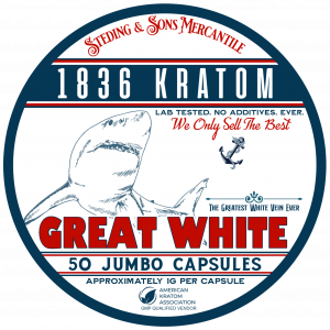 1836 Kratom Great White - 50 Capsule Tin FRONT