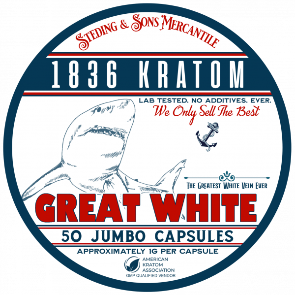 1836 Kratom Great White - 50 Capsule Tin FRONT