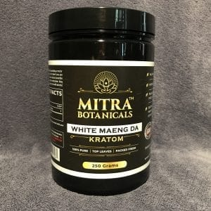 Whole Earth Gifts Mitra Botanicals 250g White Maeng Da Kratom Powder wholeearthgifts.com