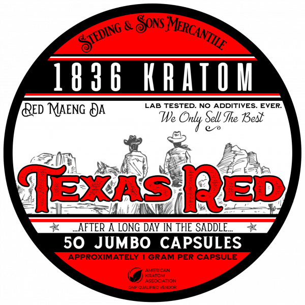 1836 Kratom Texas Red - 50 Capsule Tin FRONT