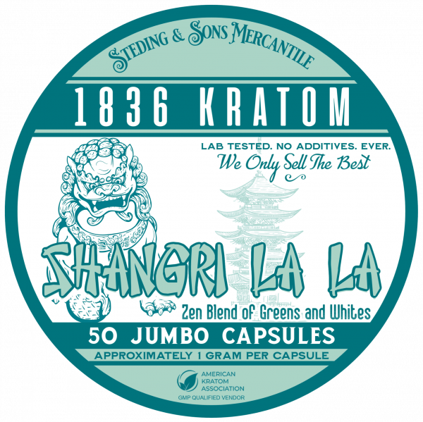 shangri la la capsules, 1836 Kratom Shangri La La 50 Label wholeearthgifts.com