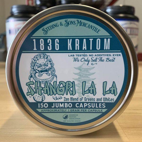 "shangri la la capsules, 1836 Kratom ""Shangri La La"" Green/White Blend Kratom Jumbo Capsules 150 wholeearthgifts.com"