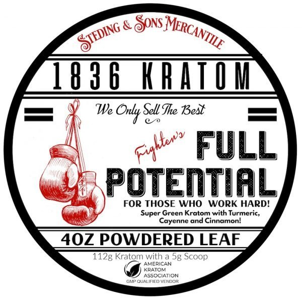 Whole Earth Gifts 1836 Kratom Fighter's Full Potential Label