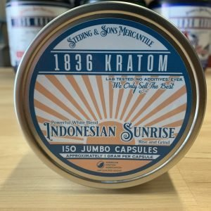 Indonesian Sunrise Capsules, Whole Earth Gifts 1836 Kratom Indo Sunrise 150 Caps