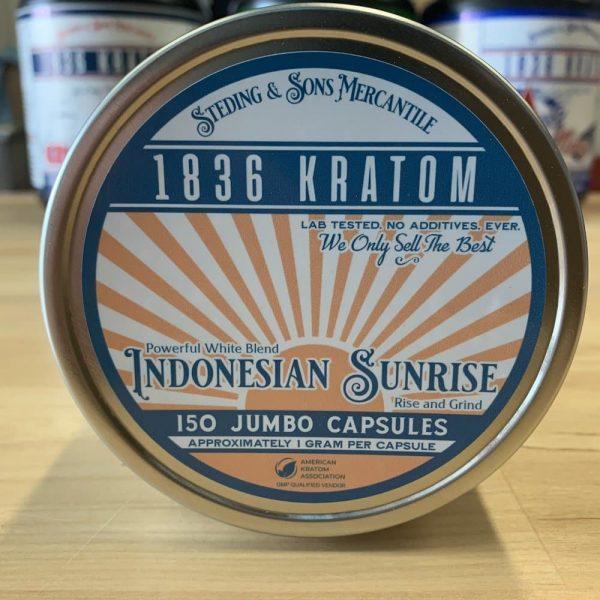 Indonesian Sunrise Capsules, Whole Earth Gifts 1836 Kratom Indo Sunrise 150 Caps