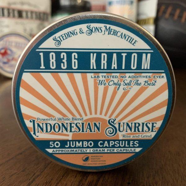 Indonesian Sunrise Capsules, Whole Earth Gifts 1836 Kratom Indo Sunrise 50 Caps
