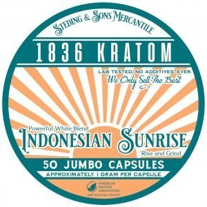 Indonesian Sunrise Capsules, Whole Earth Gifts 1836 Kratom Indonesian Sunrise Capsule Tin Label