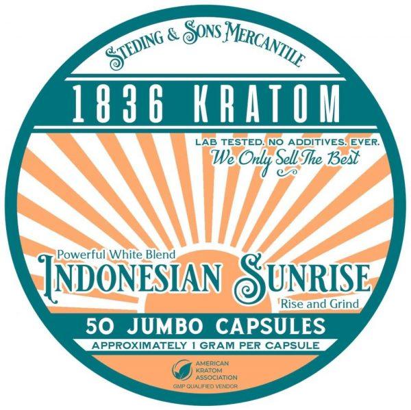 Indonesian Sunrise Capsules, Whole Earth Gifts 1836 Kratom Indonesian Sunrise Capsule Tin Label