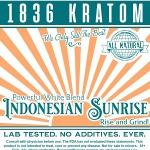 Indonesian Sunrise Powder, Whole Earth Gifts 1836 Kratom Indonesian Sunrise Powder Label