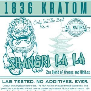 Whole Earth Gifts 1836 Kratom Shangri La La Powder Label