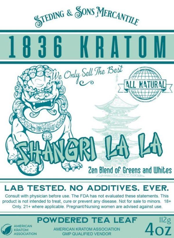 Whole Earth Gifts 1836 Kratom Shangri La La Powder Label