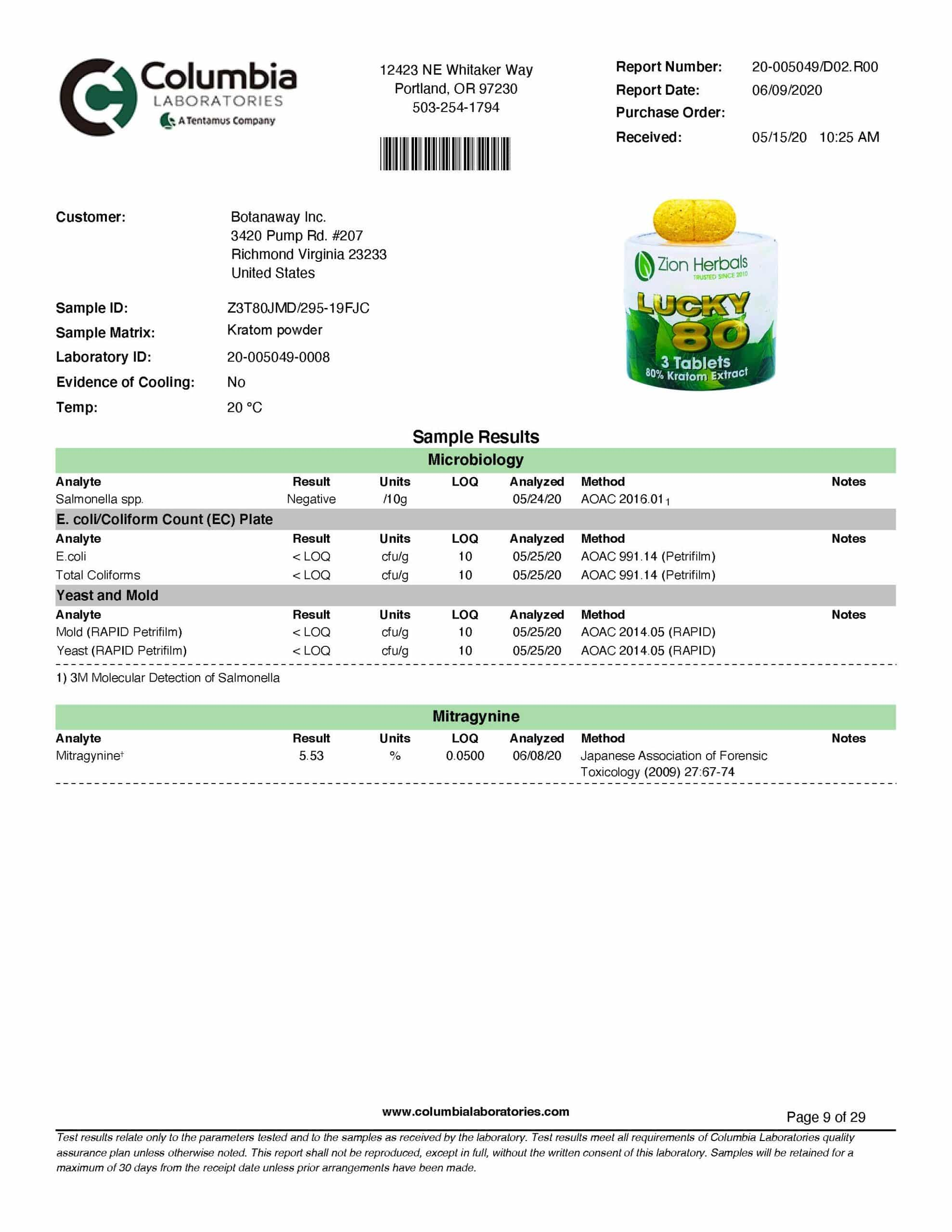 Zion Herbals Lucky 80 3ct Tablets Lab Test