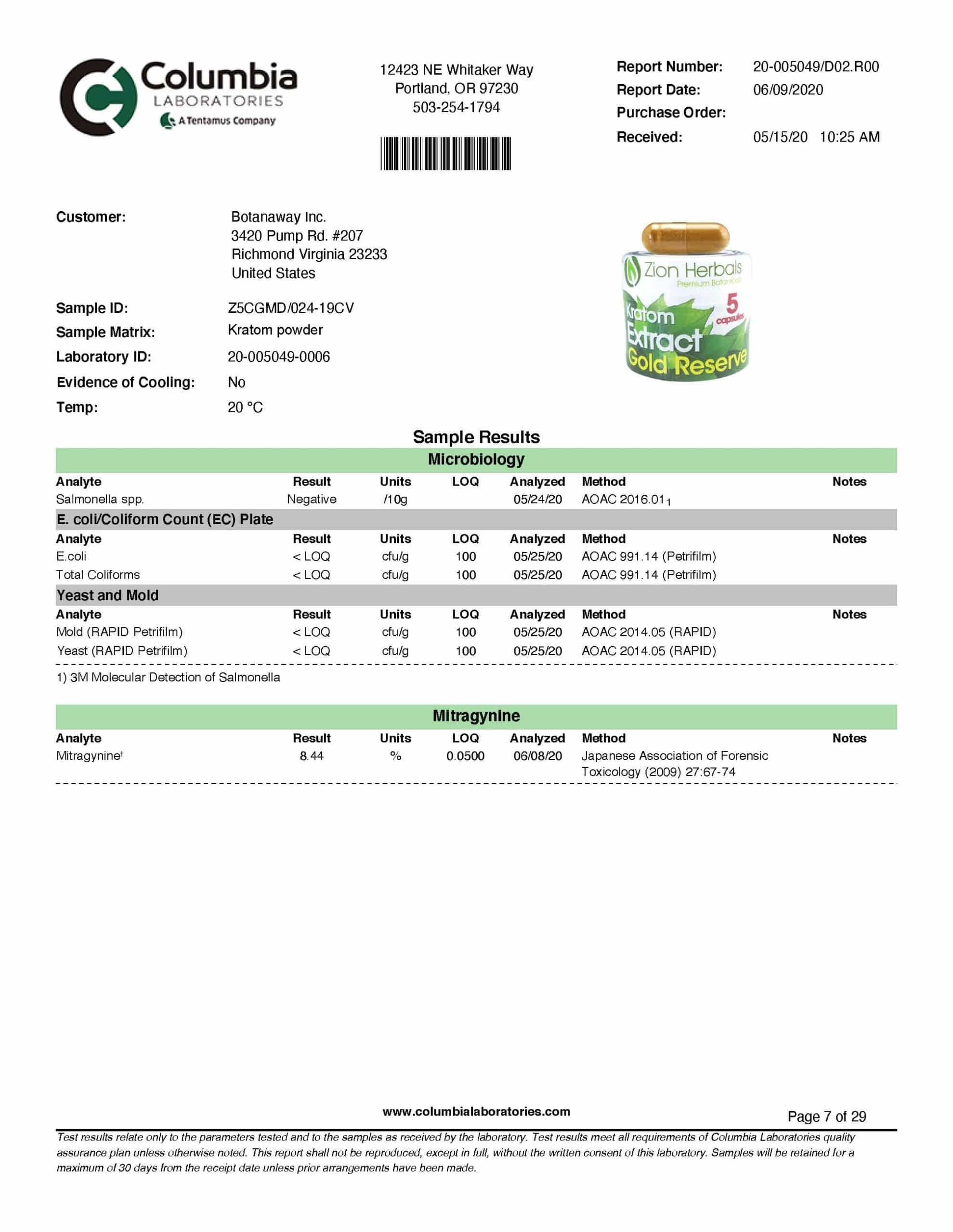 Zion Herbals Extract Capsule 5 ct Lab Test