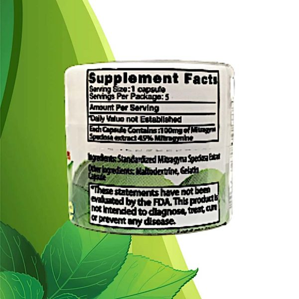 Zion Herbals Gold Reserve 5ct. Kratom Extract Capsules Back 1.jpg