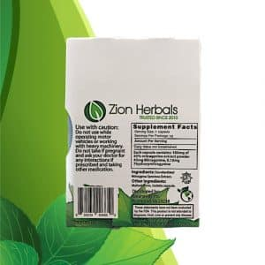 Zion Herbals Gold Reserve Kratom Extract Capsules 10 ct. Back Whole Earth Gifts