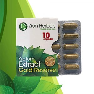 Zion Herbals Gold Reserve Kratom Extract Capsules 10 ct. Front Whole Earth Gifts