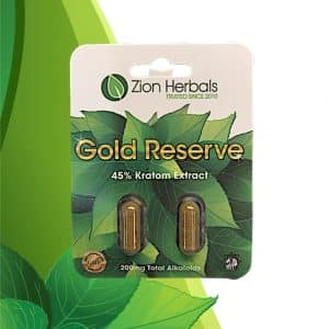 Zion Herbals Gold Reserve Kratom Extract Capsules 2 ct. Front Whole Earth Gifts