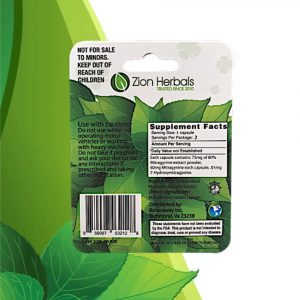 Zion Herbals Lucky 80 Kratom Extract Capsules 2 ct. Back Whole Earth Gifts