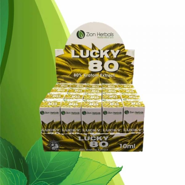 Zion Herbals Lucky 80 Liquid Kratom Extract Box